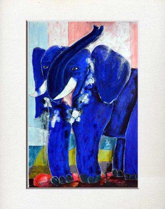 Elefant, blau, geschmueckt, Begleiter