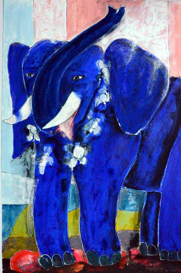 Elefant, blau, freundlich, Begleiter